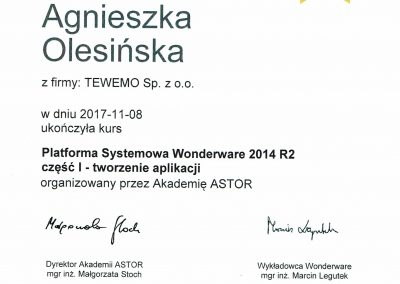 Certyfikat Wonderware Agnieszka Olesińska 2017